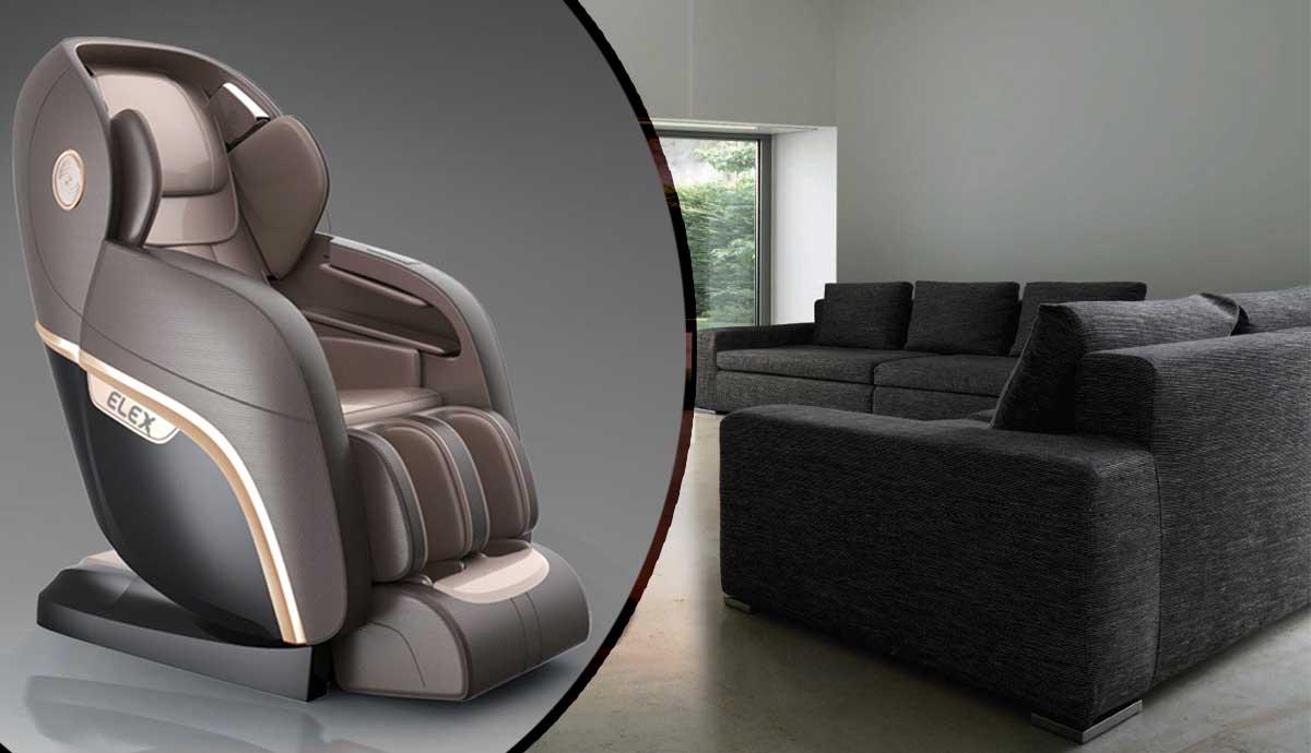 Elex massage chair in dark grey next to dark grey sofa set