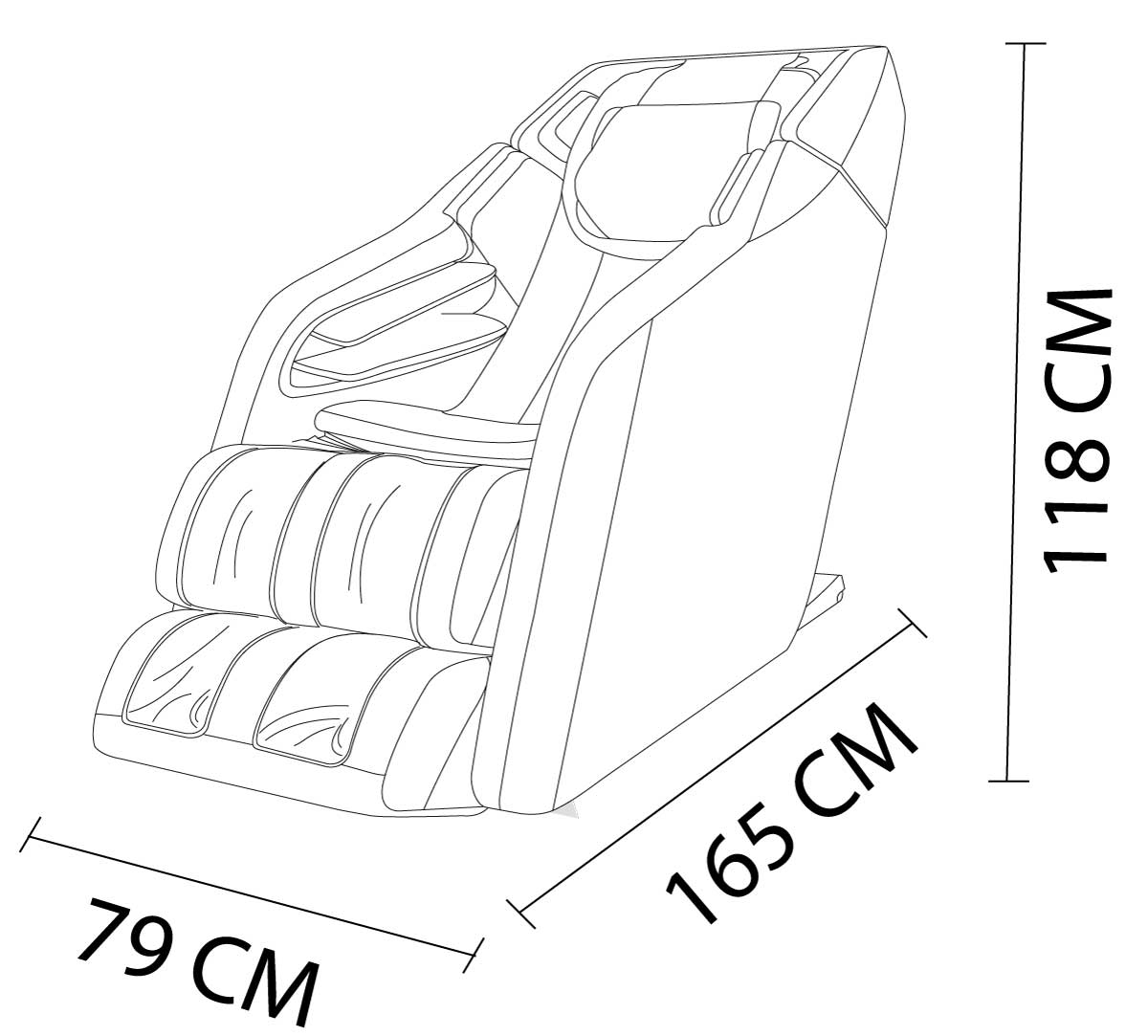 Dimensions of the Formatica iQ 4D Massage Chair
