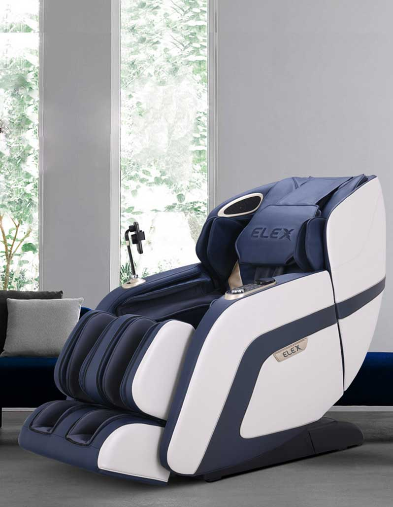 Calmer massage chair in blue and white colouring