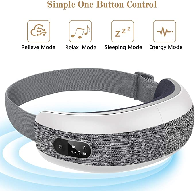 Eye massager with text detailing one button control modes