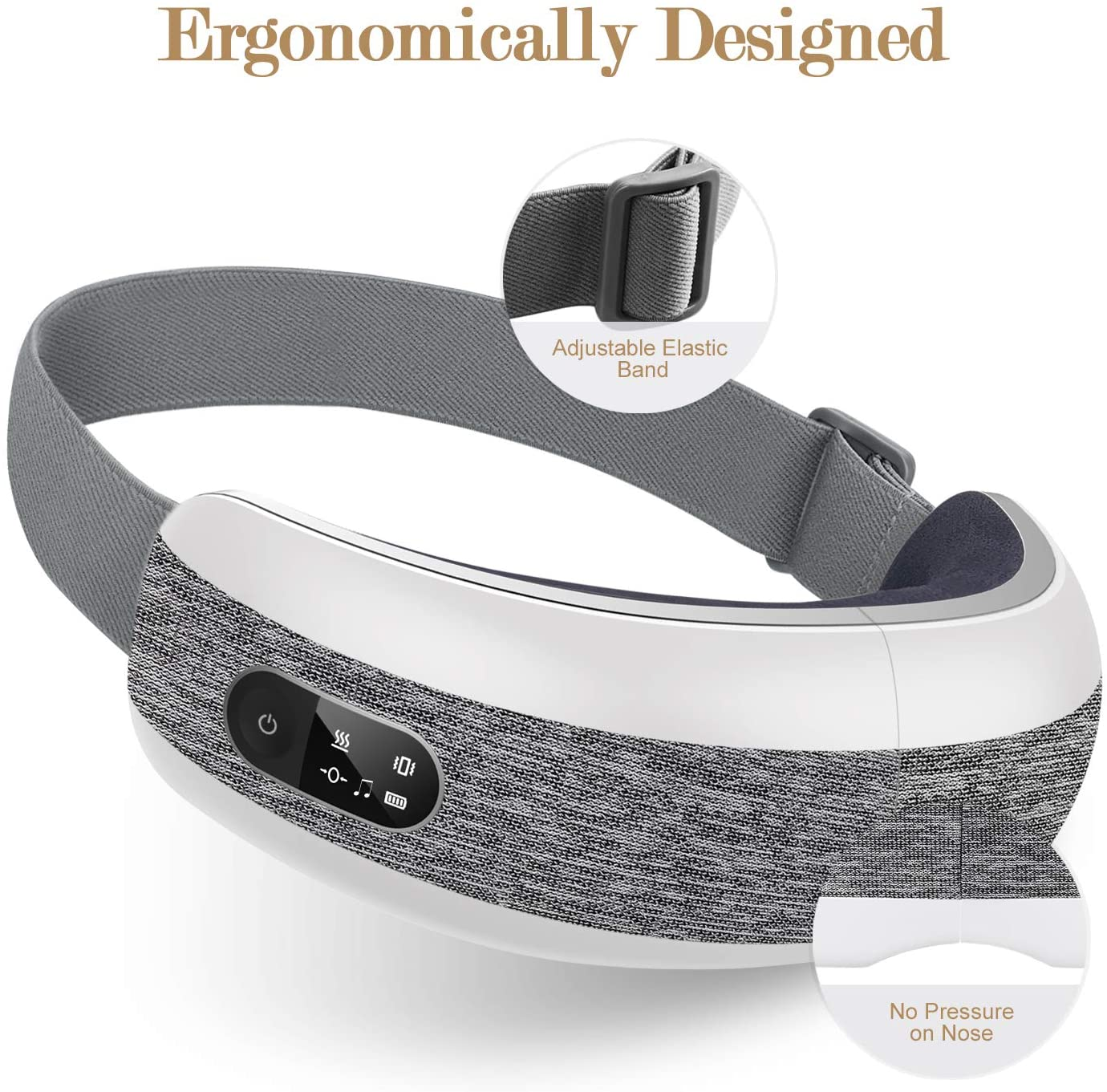 Eye massager showing adjustable elastic band and no pressure on nose