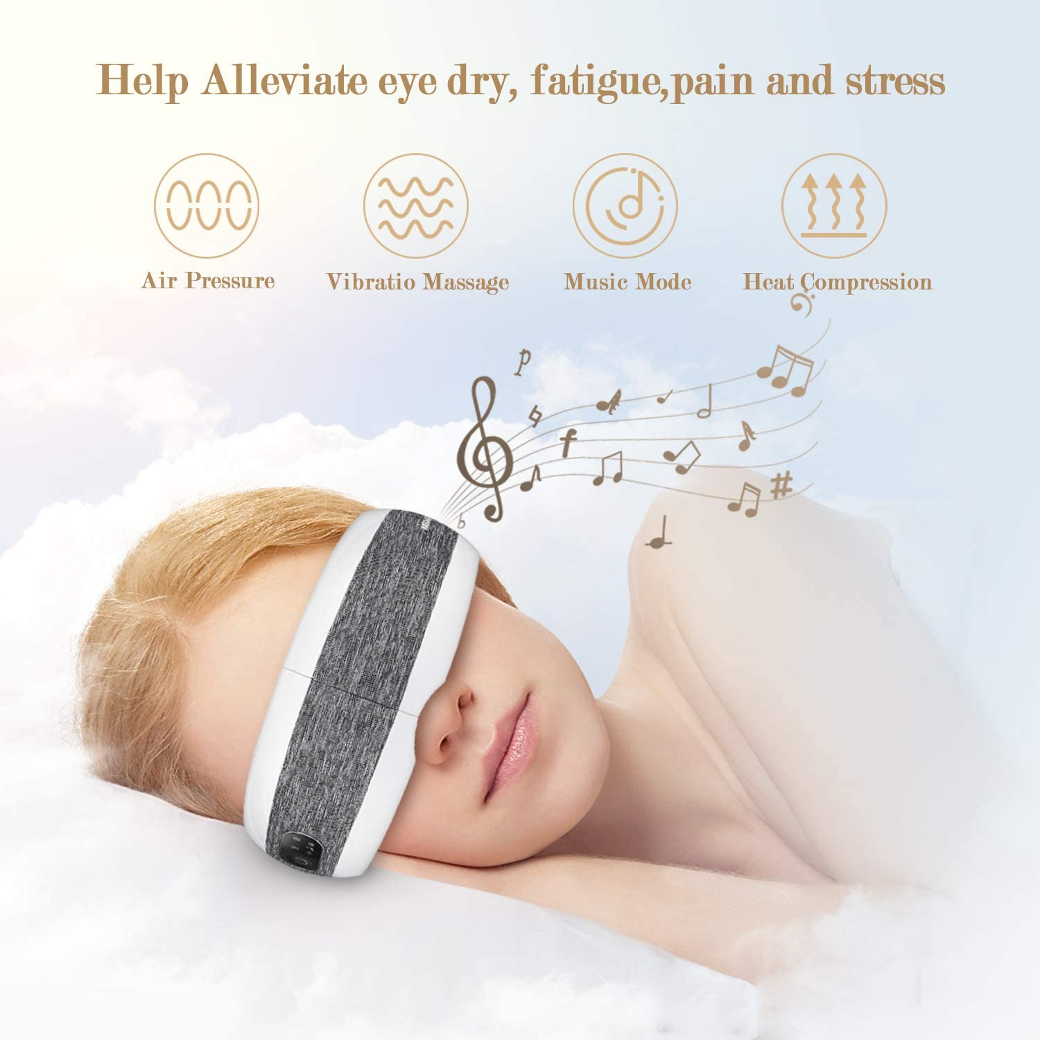 Blonde woman sleeping with eye massager on, text showing different massage techniques